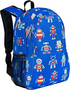 Wildkin Kids 15 Inch Backpack for Boys and Girls, Perfect Size for Preschool, Kindergarten and Elementary School, 600-Denier Polyester Fabric Backpacks, BPA-free, Olive Kids (Robots)