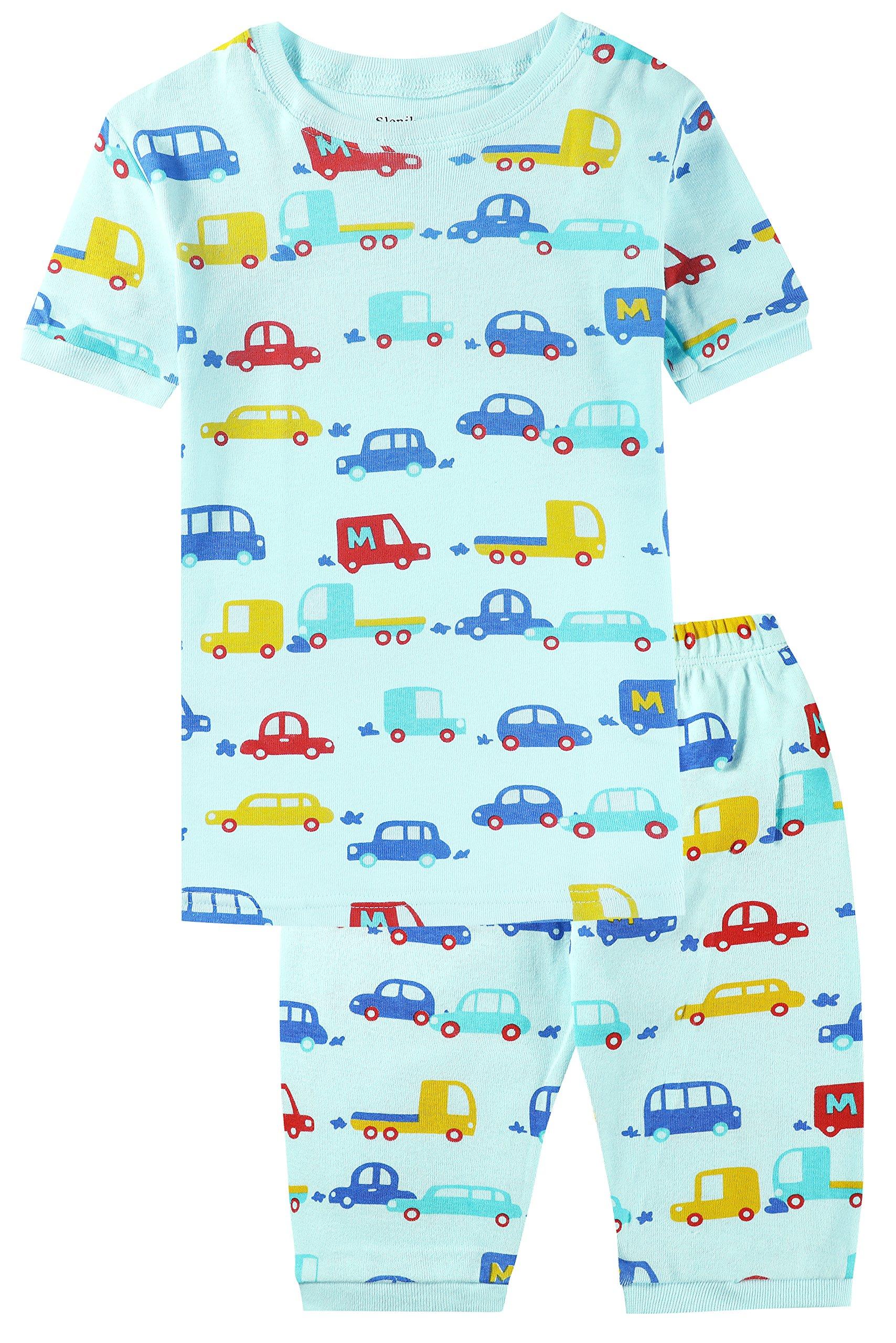 Slenily Boys Pajamas Little Kid Shorts Set 100% Cotton Sleepwear Toddler PJS Size 6