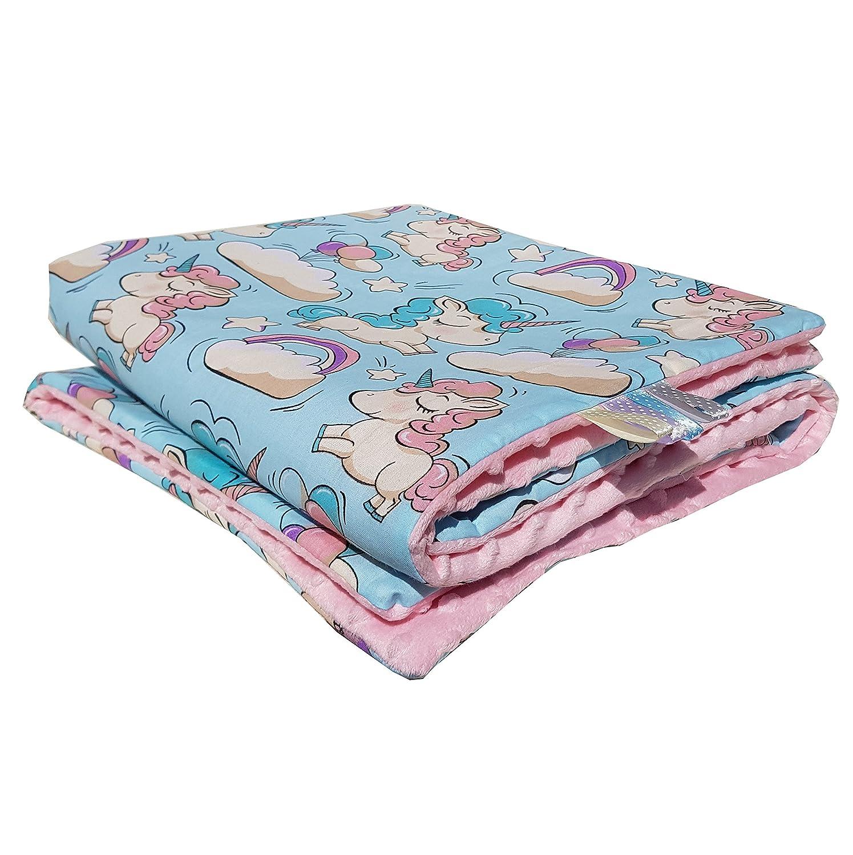 50x75cm, Blau Einhorn Panda Einhorn Minky Babydecke Kuscheldecke Krabbeldecke Decke Super weich und flauschig Handarbeit