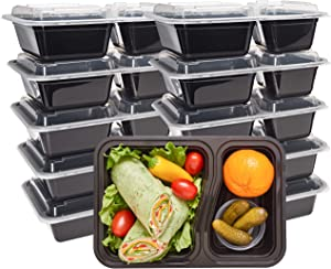 DuraHome - Round Meal Prep Containers with Lids 28oz. Pack of 10 BPA-Free Round Microwaveable Black Plastic Food Storage Container (2 Compartments)