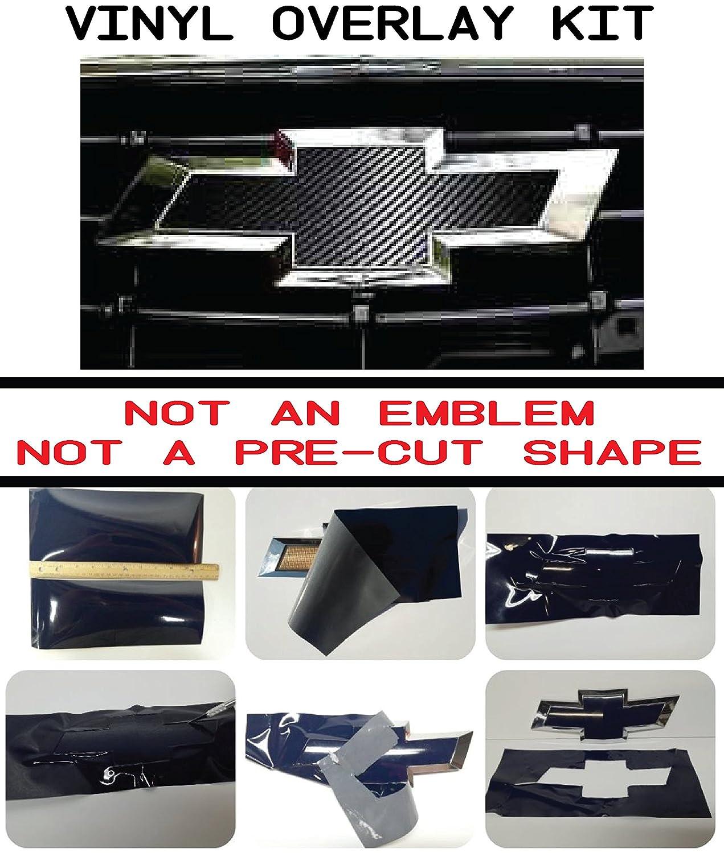 Chevy Bowtie Emblem Overlay Kits, Silverado, Colorado, Suburban, More- 3M Black Carbon Fiber Outdoor & UV Rates Auto Wrap Vinyl