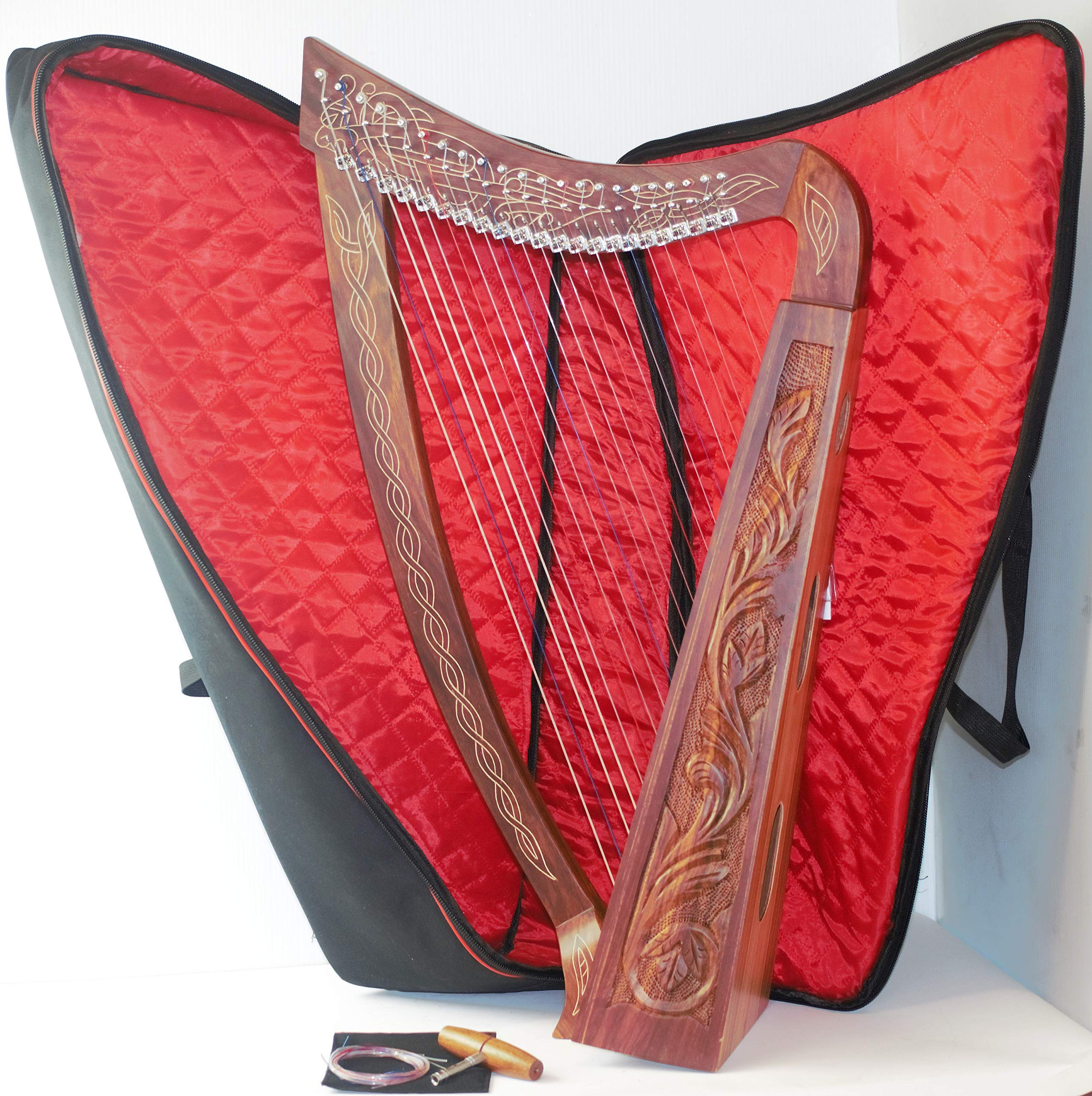 22 Nylon Strings Lever Harp Metal hardware Solid Wood with hand Engraved with Free Carrying Case