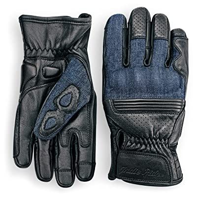 Denim & Leather Motorcycle Gloves (Black) With Mobile Touchscreen by Indie Ridge (Large): Automotive