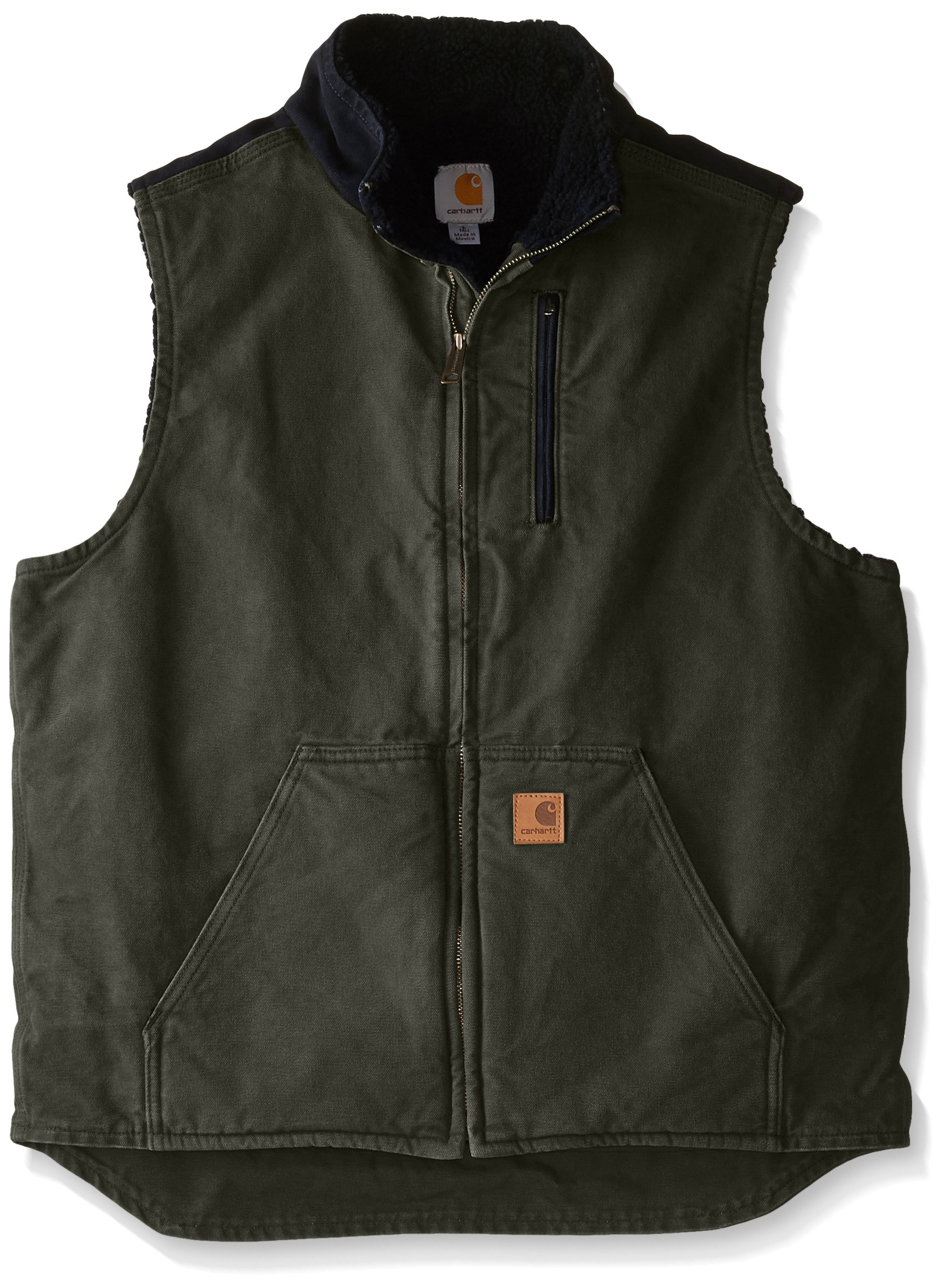 Carhartt Men's Sherpa Lined Sandstone Mock Neck Vest V33,Moss/Black,2X-Large by Carhartt