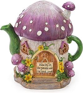 Mushroom Teapot Gnome Fairy House Solar Powered LED Outdoor Decor Garden Light
