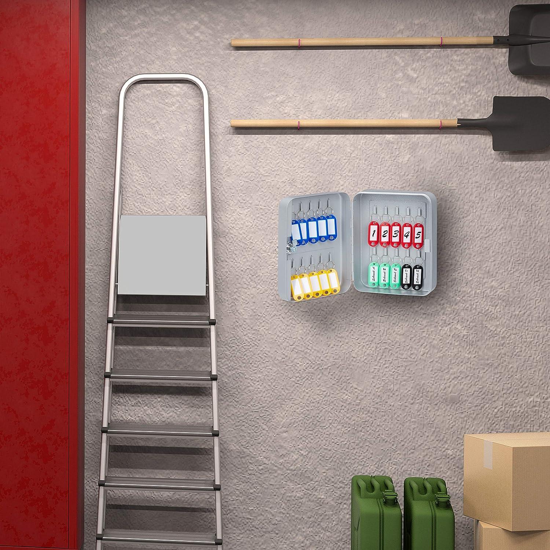 25x18x8 cm abschlie/ßbare Sicherung Relaxdays Schl/üsselkasten Keygarage mit 60 Haken Grau