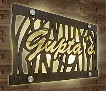 Aarushi Creations Door Name Plate With Background Light And Golden Acrylic Embossed Letters Size 15 X 10 Brown