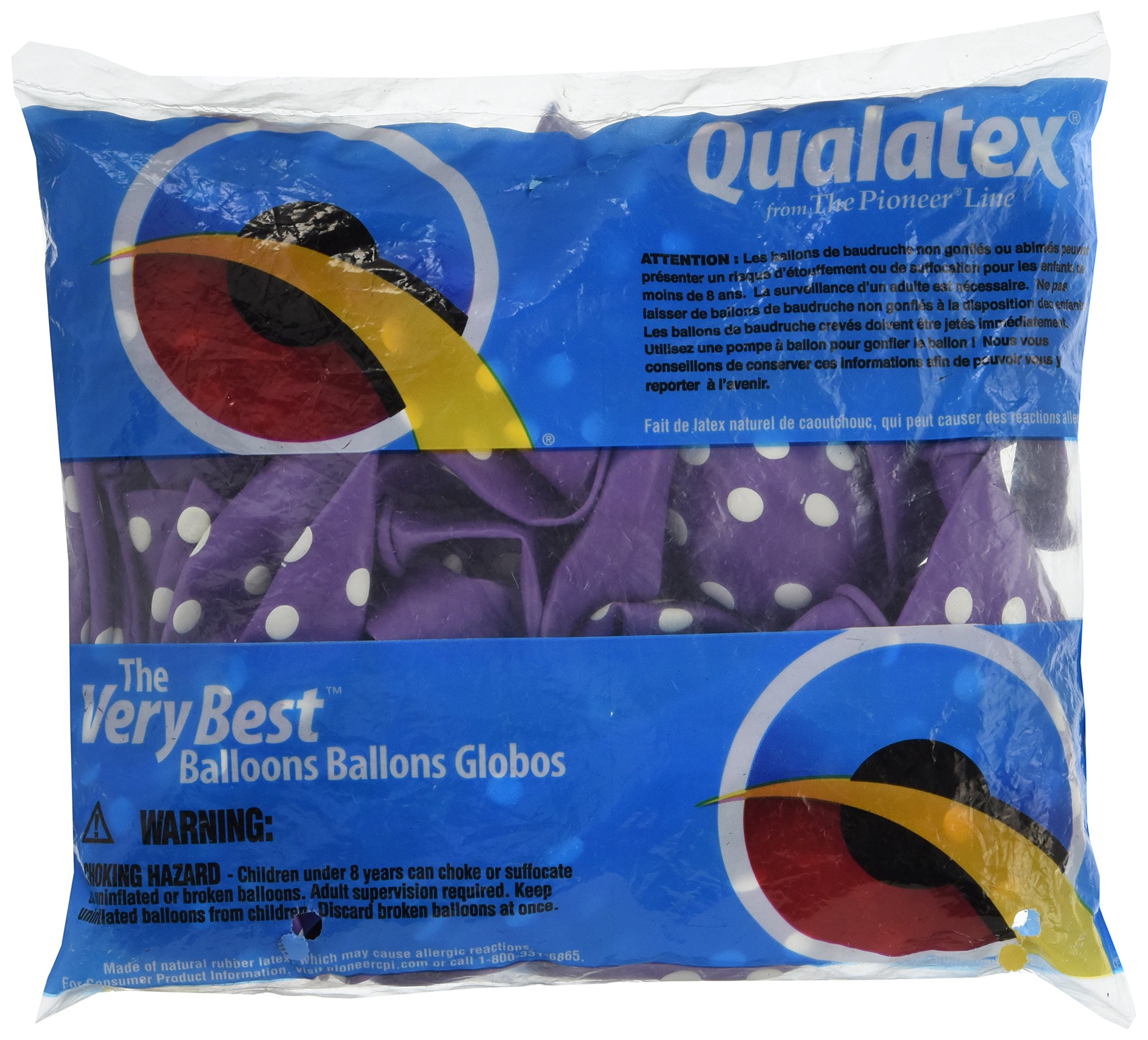 Amscan Polka Dots All Over Printed Balloon Party Decorations Latex Pack of 6 Supplies (72 Piece), New Purple, 12''