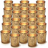Granrosi Gold Mercury Votive Candle Holder Set of 25 - Mercury Glass Tealight Candle Holder with A Speckled Gold Finish - The