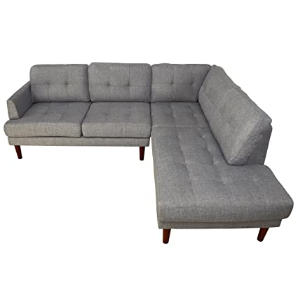 Beverly Furniture Lavin Right Chaise L Shape Sofa With Square Stitching Pattern Gray