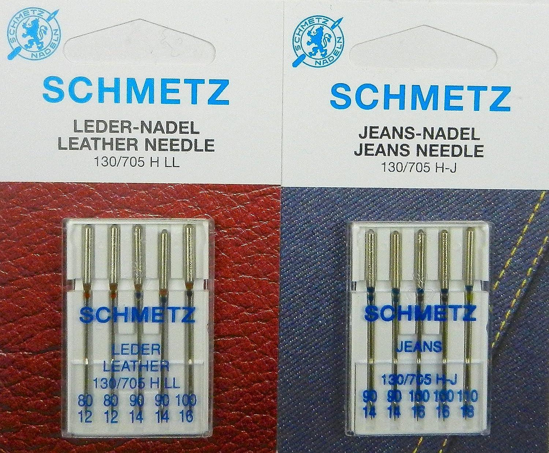 Schmetz 130/705 - Juego de agujas para máquina de coser (cuero y vaqueros, 10 unidades): Amazon.es: Hogar