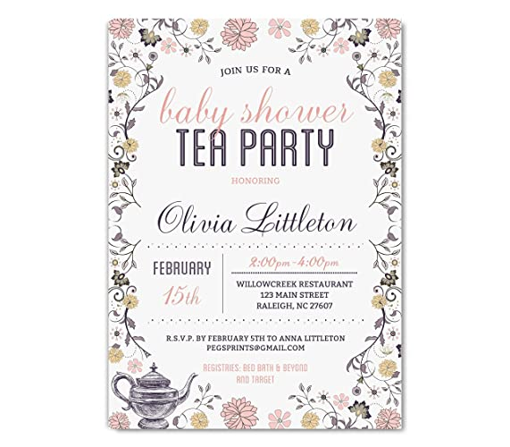 amazon com baby shower tea party invitation tea party baby shower