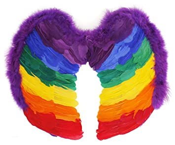 df5def644 RAINBOW FEATHER WINGS ACCESSORY - PERFECT FOR GAY/LGBT+ PRIDE AND CARNIVALS  - PACK OF 1 - ONE SIZE FITS MOST: Amazon.co.uk: Toys & Games