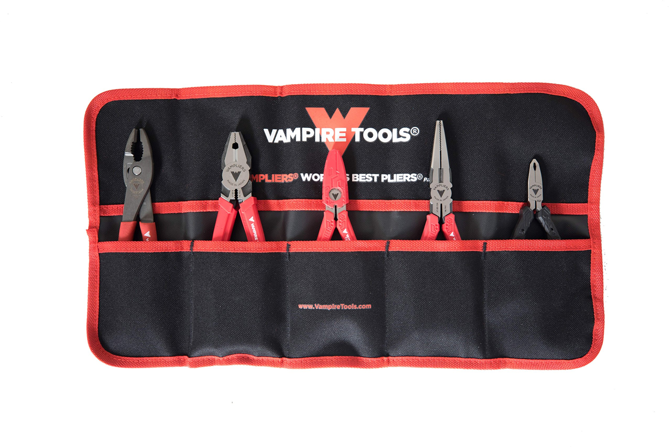 VAMPLIERS. World's Best Pliers! Black Friday Gifts 5-PC SET S5BP Specialty Screw Extractions Pliers. Extract Stripped Stuck Security, Corroded or Rusted Screws/Nuts/Bolts With Tool Pouch by Vampire Professional Tools International