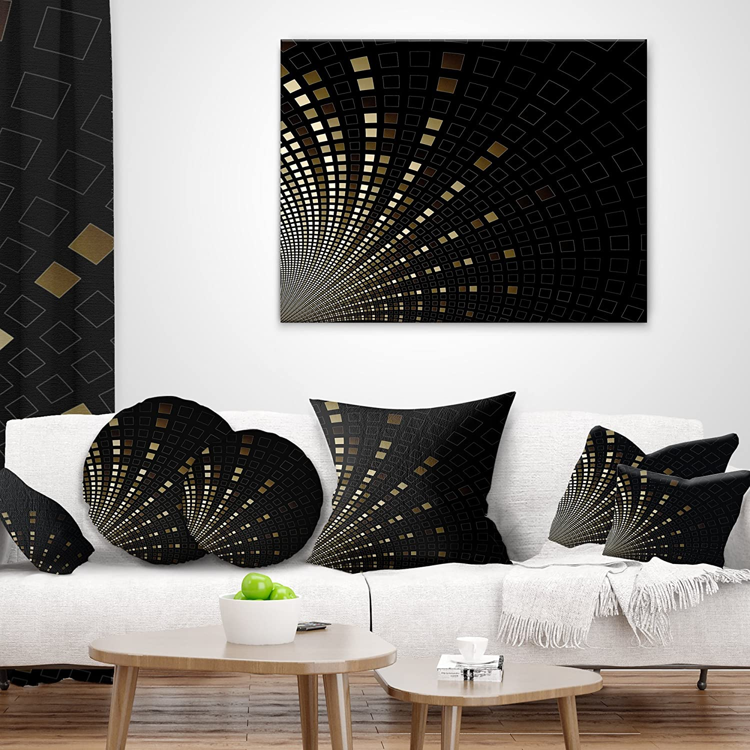 x 16 in Designart CU16418-16-16 Gold Square Pixel Mosaic on Black Abstract Cushion Cover for Living Room Insert Printed On Both Side Sofa Throw Pillow 16 in in