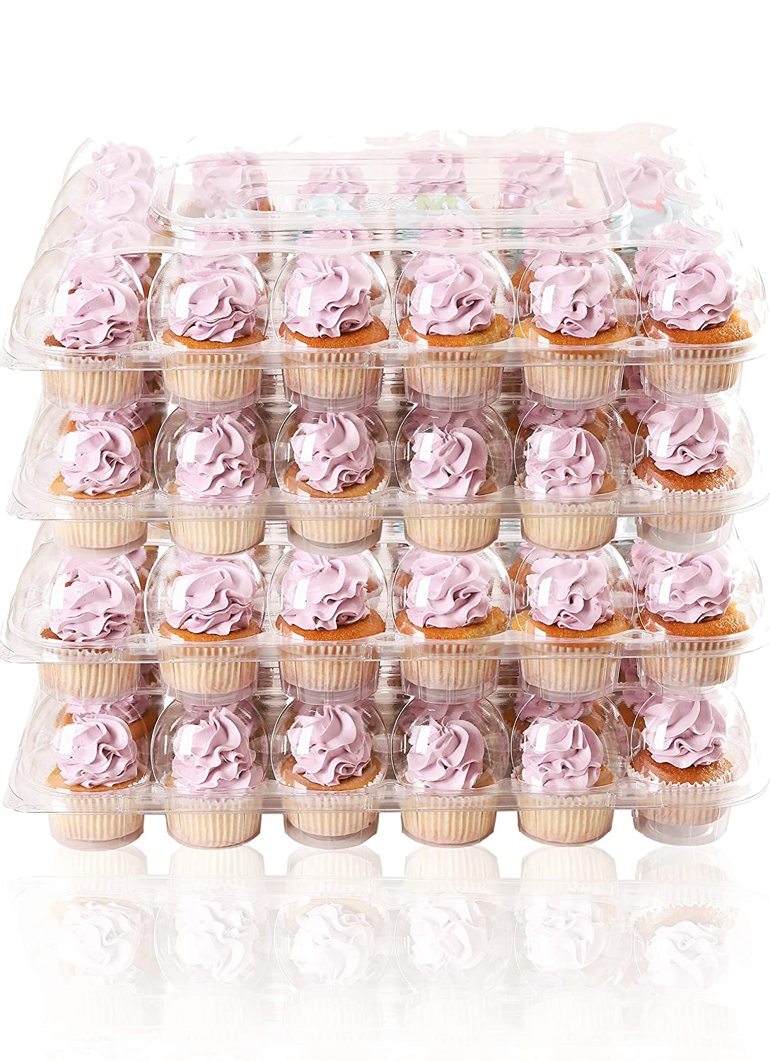 (24 Pack x 4 Sets) STACKnGO Carrier Holds 24 Standard Cupcakes - Strongest Cupcake Boxes, Tall Dome Detachable Lid, Clear Plastic Disposable Containers, Storage Tray, Travel Holder, Regular Muffins 91Gu0e5WekL
