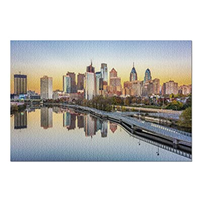 Philadelphia, Pennsylvania - View of Downtown at Sunset 9008800 (Premium 1000 Piece Jigsaw Puzzle for Adults, 20x30, Made in USA!): Toys & Games