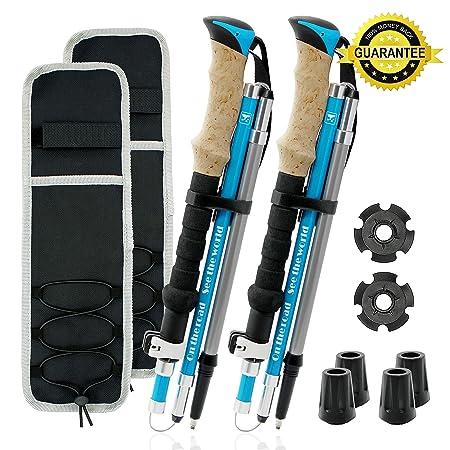 Otrestodyl Z Trekking Poles Collapsible, 2 Lightweight Folding Cork 3K Carbon Fiber 7075 Aluminum Mix Hiking Sticks, Walking, Backpacking, 2 Poles