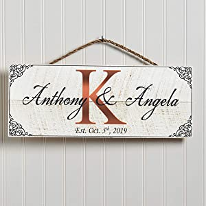 Artblox Hand Made Personalized Name Sign | 100% Real Wood Wall Decor | Customized Monogram Family Farmhouse Signs | Rustic Home Decor | Housewarming Gifts | Anniversary Wedding Gift - (18
