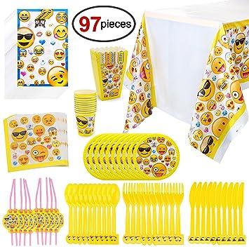 Konsait Emoji Kit de Mesa Party Fiesta de Infantiles Cumpleaños, (97 Piezas: Juego