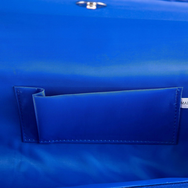 BAIGIO Bolso de Noche Bolsa de Embrague de Satén para Boda Fiesta Novia Salida de Noche Cartera de Mano para Mujer (Azul): Amazon.es: Ropa y accesorios