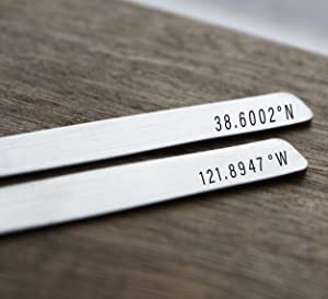 Coordinates Collar Stays Location Gift For Him Engraved Collar Stays Personalized Collar Stays Husband Gift Boyfriend Gift For Him Gift