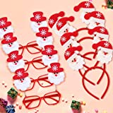 TIED RIBBONS Santa Hairband and Goggles Combo Pack ( 4 Santa Hair Band & 4 Goggles ) - Christmas Party Props Gifts for Kids Boys Girls