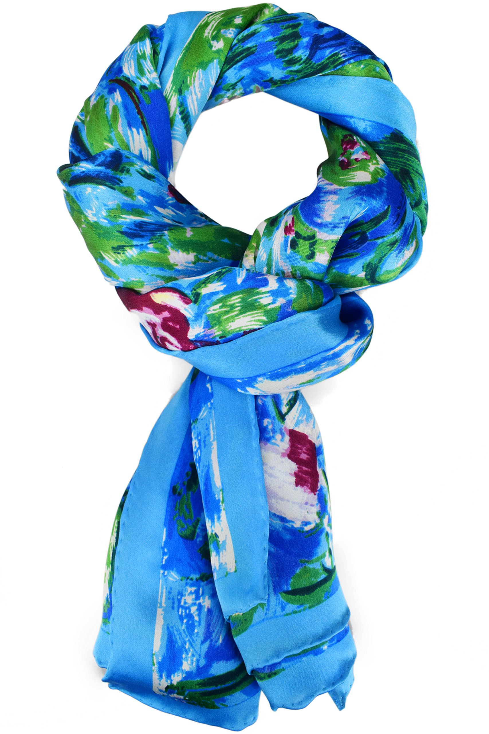 Luxurious 100% Charmeuse Silk Art Collection Long Scarf Shawl (Water Lilies) by Elegna (Image #2)