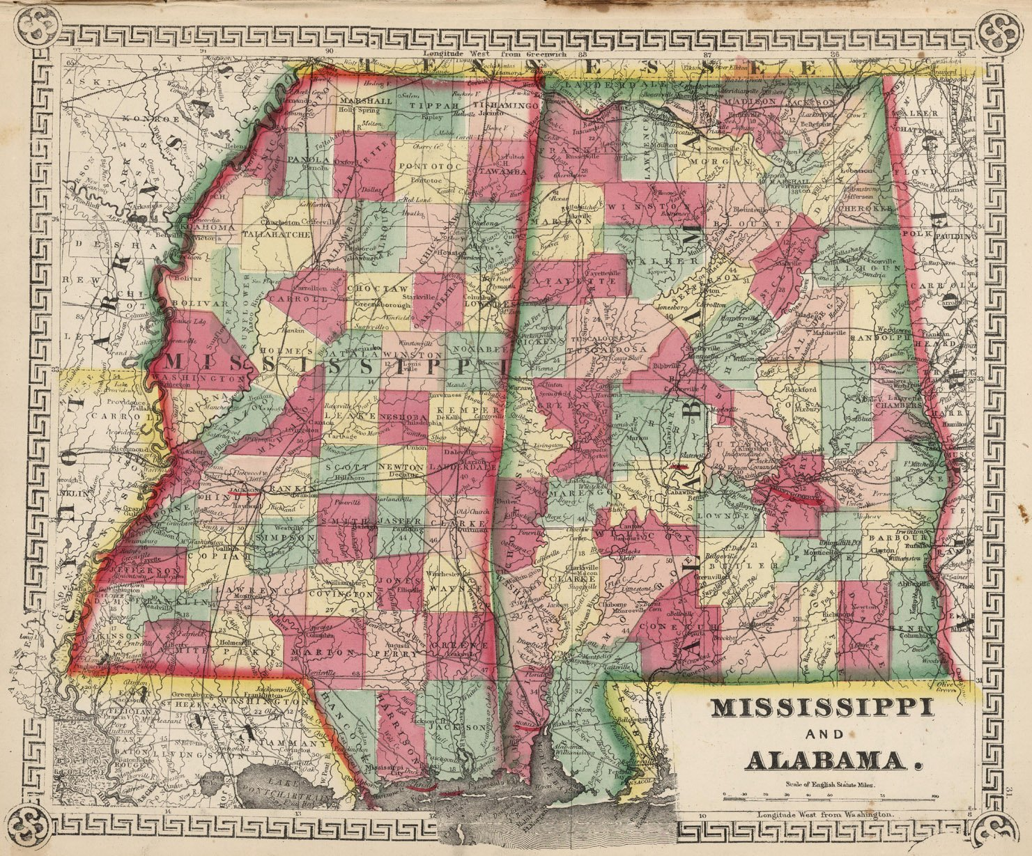 Amazon.com: Map Poster - Mississippi and Alabama. - 24\