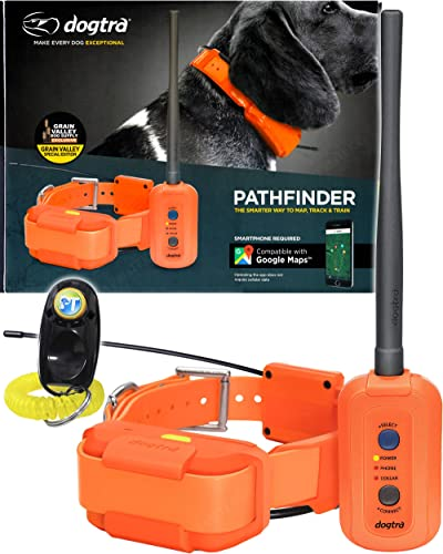Dogtra Pathfinder Dog Remote Training and GPS Tracking Collar – 9 Mile Range, Sports Upland Hunting, Waterproof Receiver, Rechargeable, Static, Audible Tone, PetsTEK Trainer Clicker – Orange Edition
