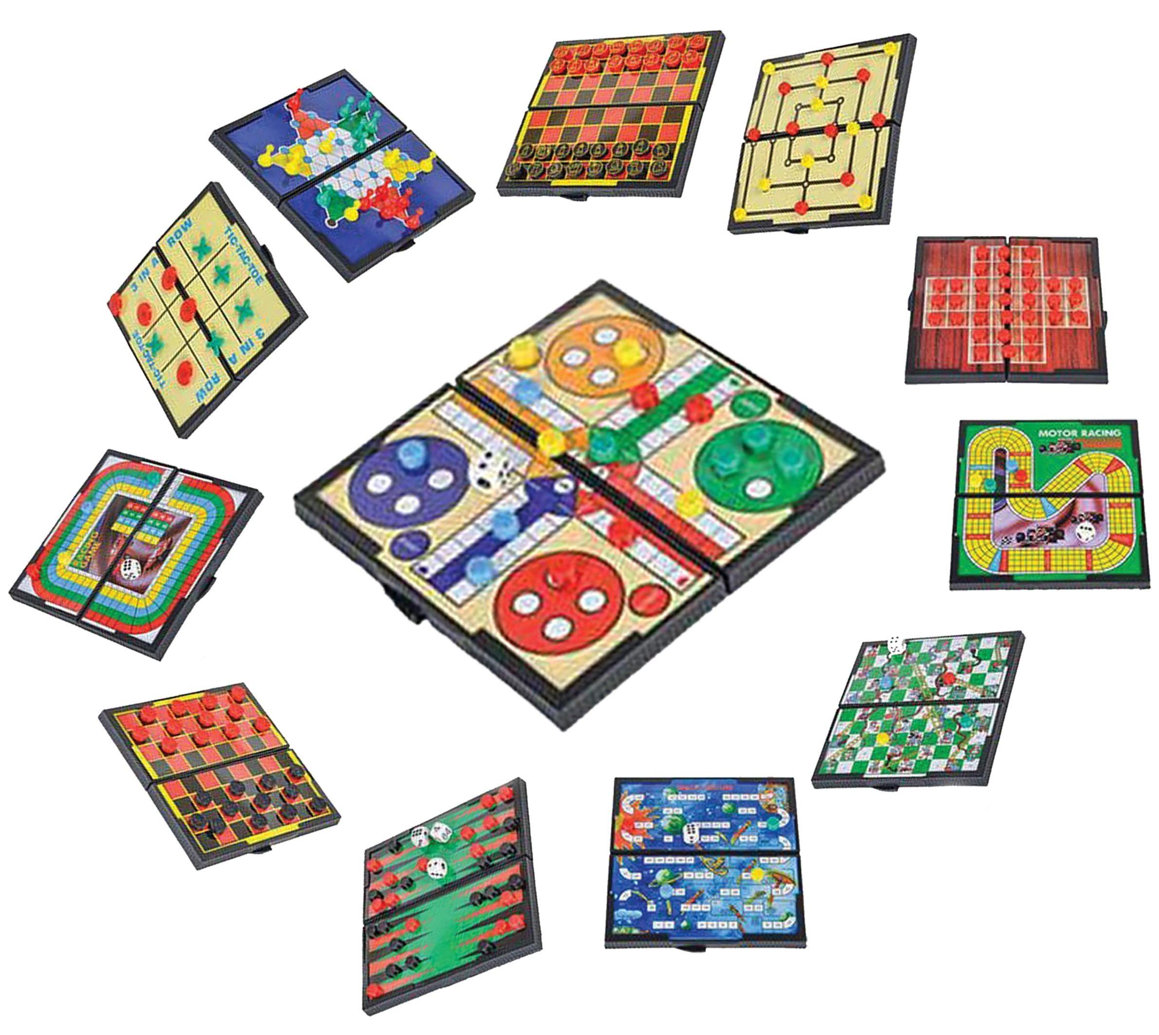 Magnetic Travel Board Games-Road Trip Entertainment, Checkers, Chess, Chinese Checkers, Tic Tac Toe, Backgammon, Snakes And Ladders, Solitaire, Nine Mens Morris, Auto Racing, Ludo, Space Venture by Big Mo's Toys
