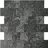 "Art3d 12""x12"" Peel and Stick Backsplash Tile for Kitchen, Faux Stone Backsplash Tiles, Black (5 Tiles)"