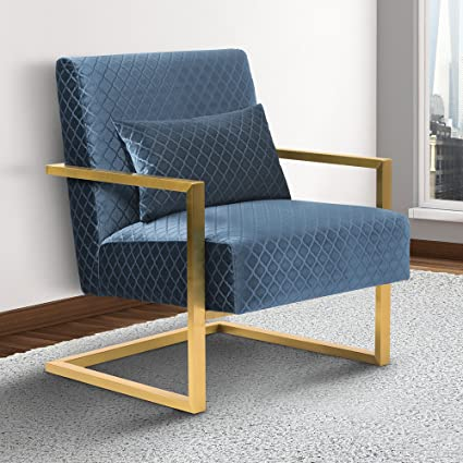 Armen Living LCSKCHBLUE Skyline Accent Chair In Blue Velvet And Gold Metal  Finish
