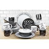 32 Piece Black & White Good Food Dinner Set