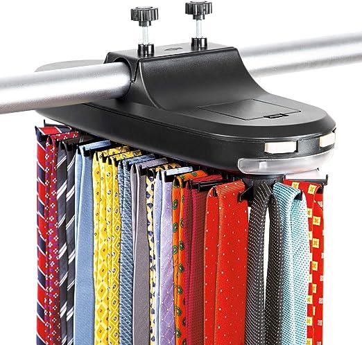 Rotating Electric Neck 30 Tie Rack Hanger 5 Belt Organizer Hold Closet LED Light
