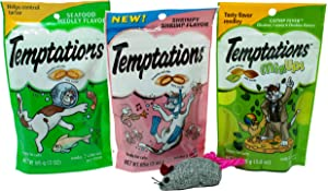 Temptations Low Calorie Cat Treats 3 Flavor Variety with Toy Bundle, 1 Each: Seafood Medley, Shrimpy Shrimp, Catnip Fever (3 Ounces)