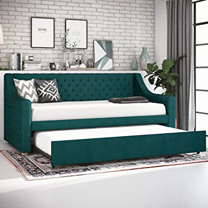 Amazon Com Cosmoliving Nolita Upholstered Daybed And Trundle Green