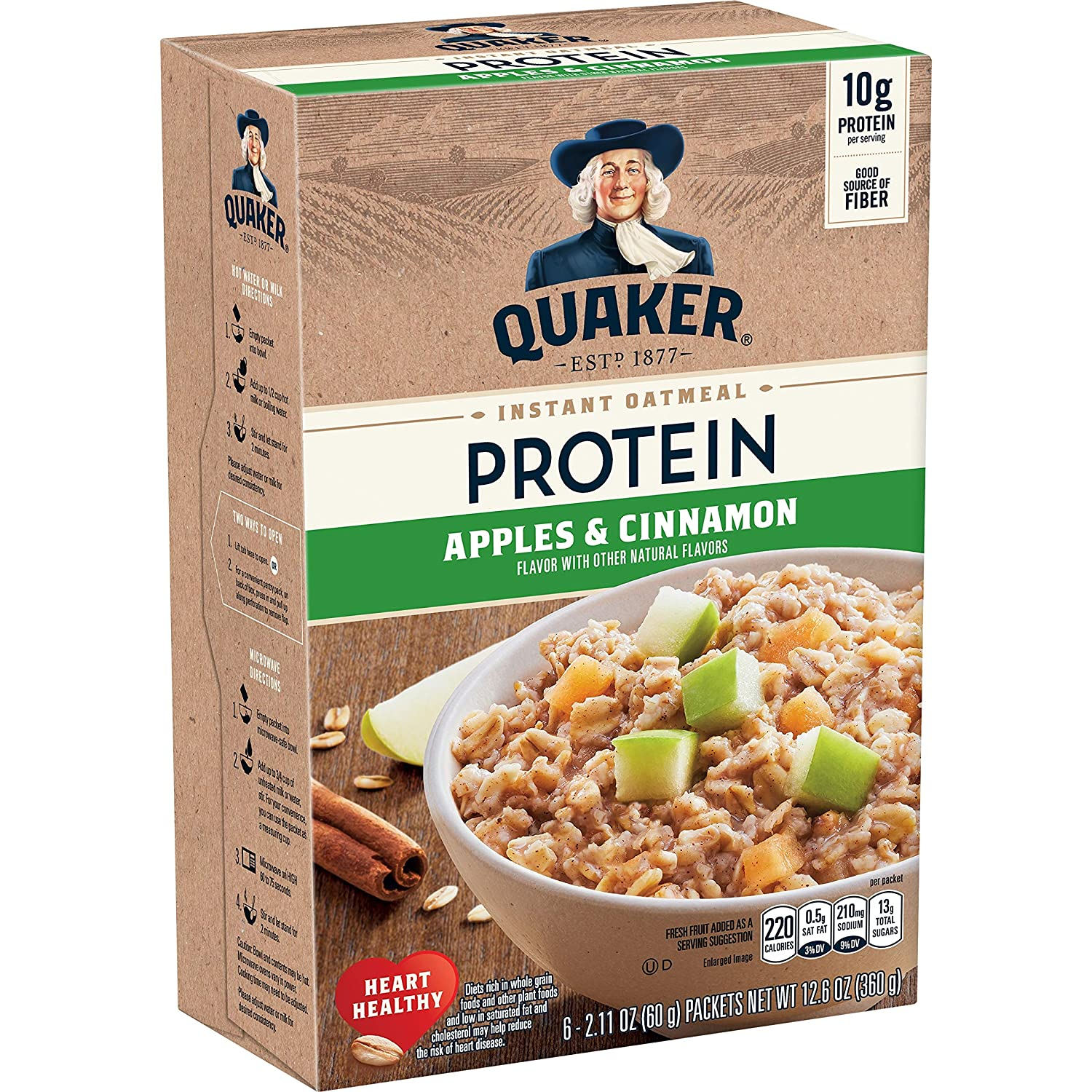 Quaker Instant Oatmeal, Protein Apple Cinnamon, 10g Protein, (36 Packets)