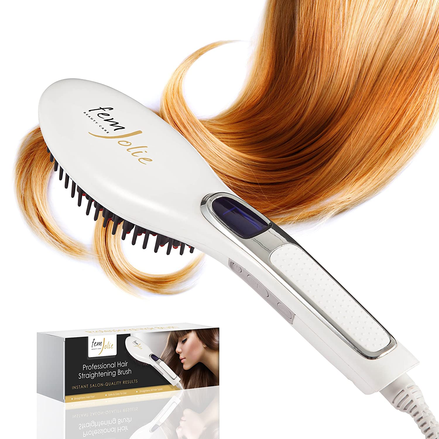 FemJolie Hair Straightening Brush Best Straightener for Beauty Styling (w/Velvet Pouch, Glove) 40W Professional Electric Heated Ceramic Comb by, White