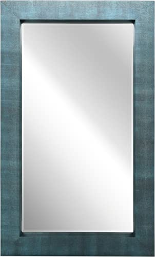 Empire Art Direct Exotic Stingray Leather Framed Occasional Mirror, Black on Blue, 80-Inch by 48-Inch