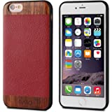 iATO iPhone 6s Plus / 6 Plus Case Genuine Leather & Real Wooden Premium Protective Cover. Unique, Stylish & Classy Red Lizard Pattern & Rose Wood Bumper Accessory for iPhone 6s+ 6+