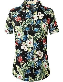 SSLR Camisa Estampado de Piñas Tropical Manga Corta Estilo Hawaiano de Algodón para Mujer: Amazon.es: Ropa y accesorios