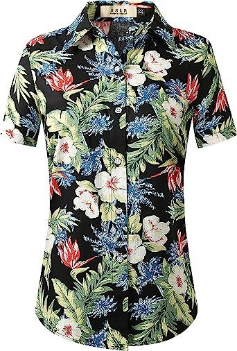 SSLR Camisa hawaiana de manga corta con botones de algodón para mujer - Negro - X-Large: Amazon.es: Ropa y accesorios