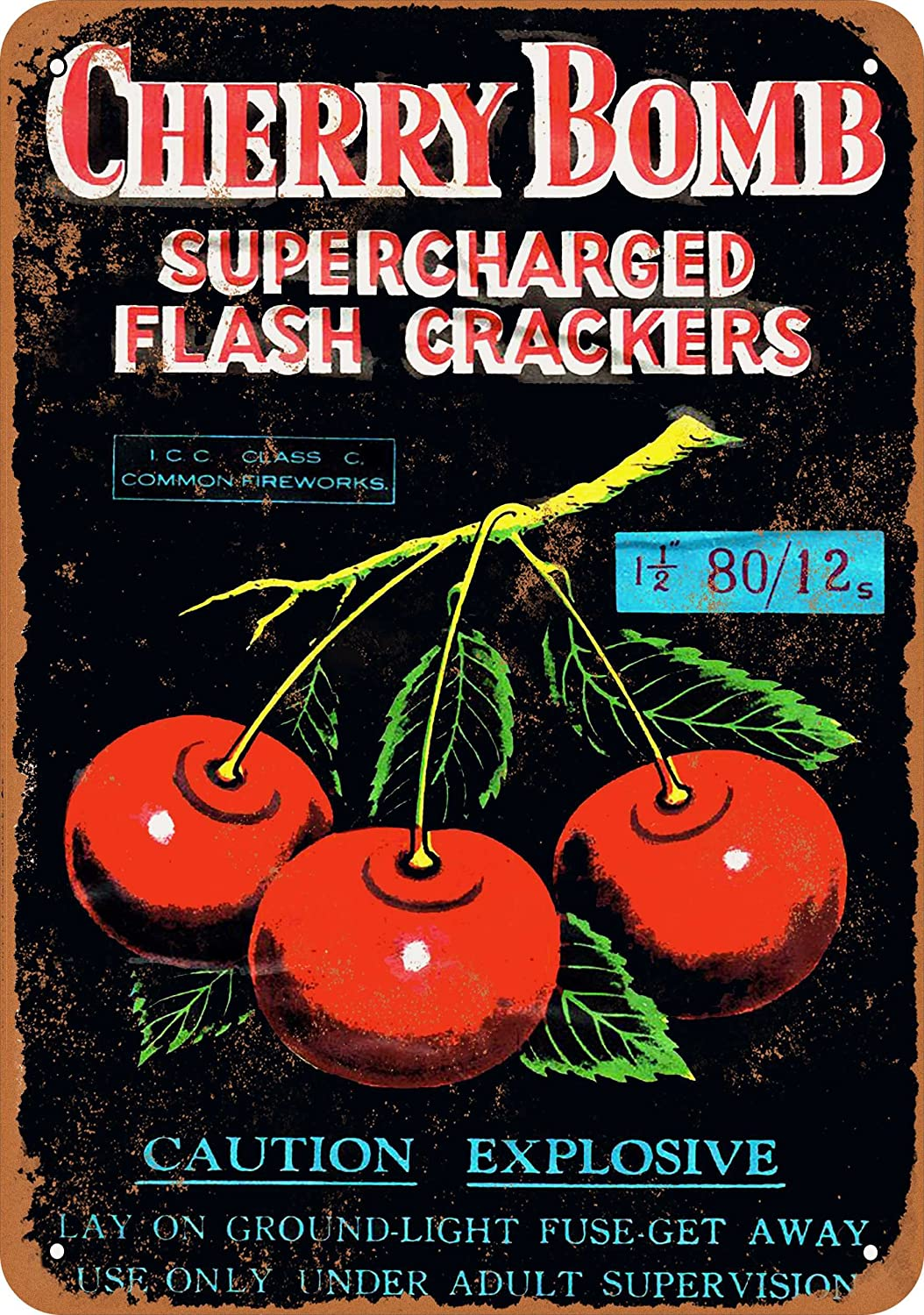 Cherry Bomb Supercharged Firecrackers Vintage Look Wall-Color 7 x 10 Metal Sign