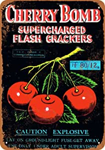 Wall-Color 7 x 10 Metal Sign - Cherry Bomb Supercharged Firecrackers - Vintage Look