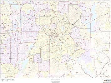Amazon Com Dallas County Texas Zip Codes 48 X 36 Laminated