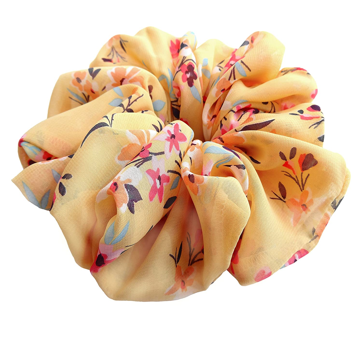 Yellow Small Bright Flowers Scrunchies for Hair Large Chiffon Designer Accessories Elastic Hair Ties Headband Ponytail Holder Teen Girls Women