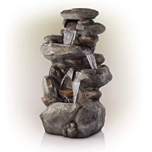 Alpine Corporation 4-Tier Rock Water Fountain with LED Lights - Outdoor Water Fountain for Garden, Patio, Deck, Porch - Yard Art Decor