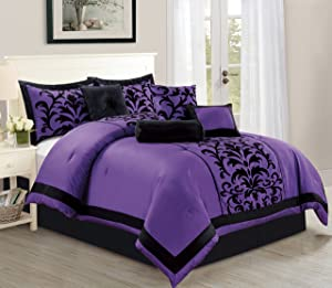 Empire Home Sarah 8-Piece Flocking Comforter Set Over Sized Bed in A Bag - Purple (Queen)