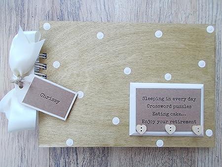 Personalised Retirement Wooden Scrapbookphoto Book Memories